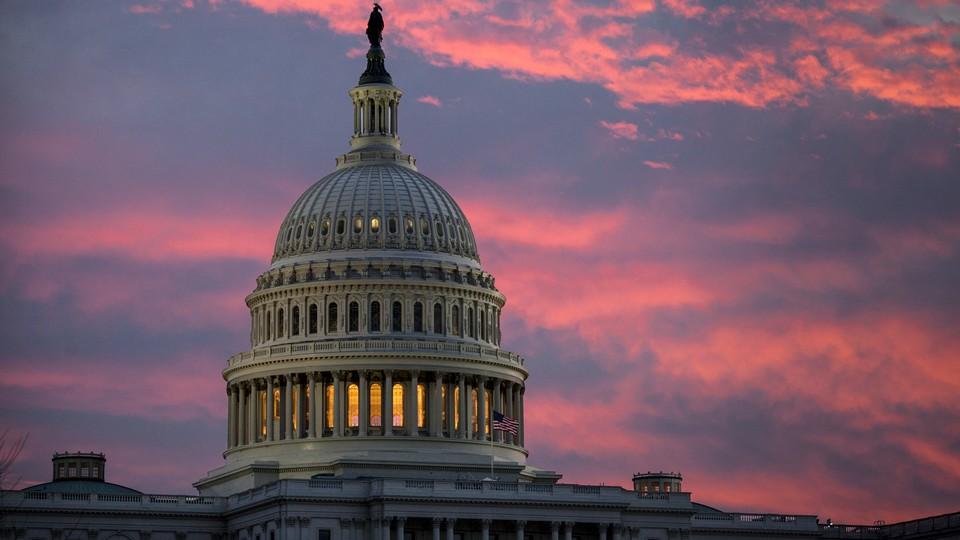 The U.S. Capitol at twilight in Washington, D.C.