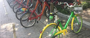 A LimeBike is pictured next to a Capital Bikeshare dock.