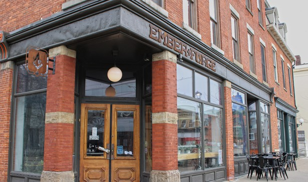 Ember + Forge, a coffee shop that has become a center of downtown life in Erie, Pennsylvania, but whose revenue has virtually disappeared. Small businesses like this have led Erie's downtown revival. A new study examines what it will take for them to survive.
