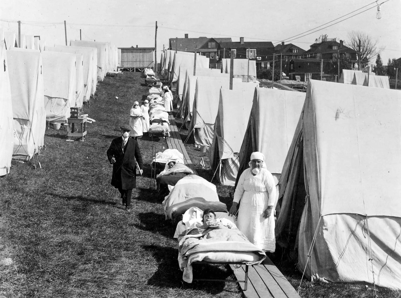 Utomhus-sjukhus i Boston. Foto: National Archive