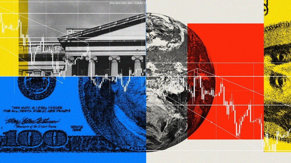 clockwise from top left: the treasury, a globe, a $100 bill
