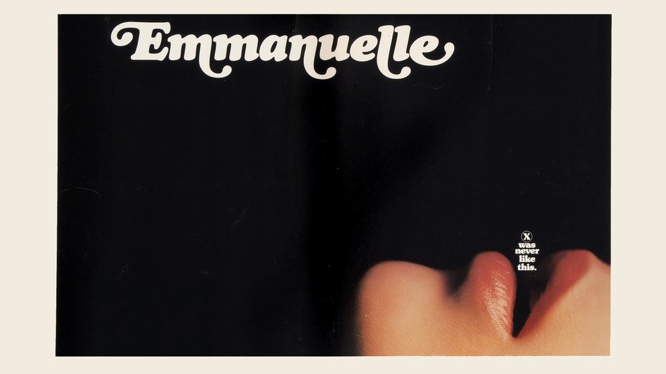 A person with their mouth open, depicted on the movie poster for Emmanuelle.
