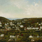 "Sarah E. Harvey's painting of ""Winsted, Connecticut,"" showing homes and buildings among green hills"