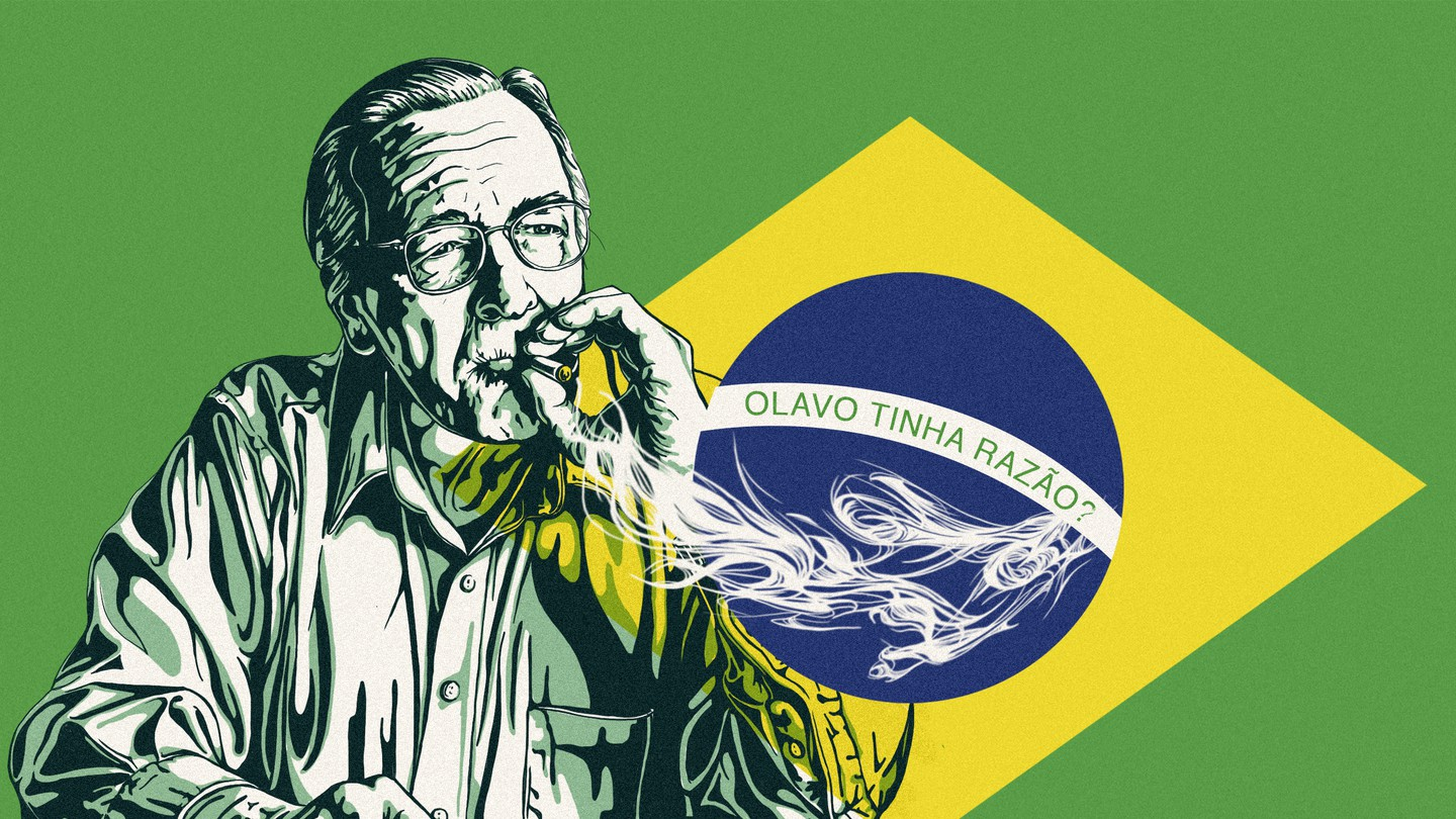 An illustration of Olavo de Carvalho smoking in front of the Brazilian flag