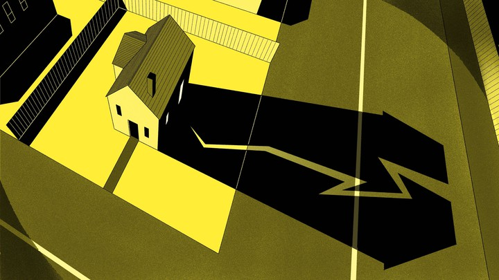 illustration of a house with a crack in its shadow