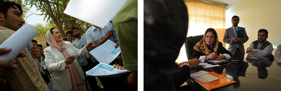 Left: a female candidate passes out campaign flyers. Right: a female politician listens to men