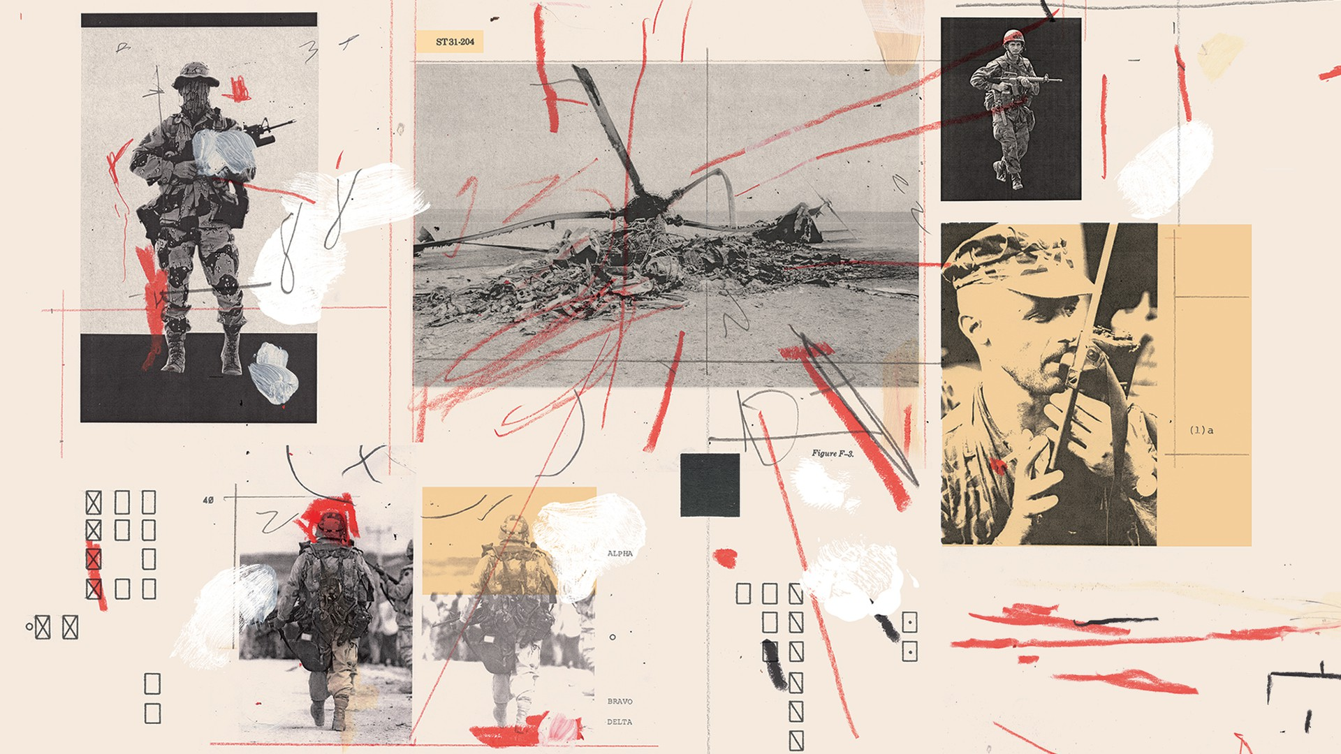 Illustration: collaged photos of soldiers and helicopter wreckage