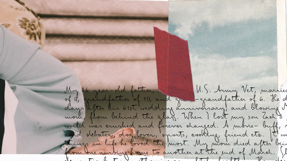 A collage of a handwritten letter a family photograph, and the blue sky.