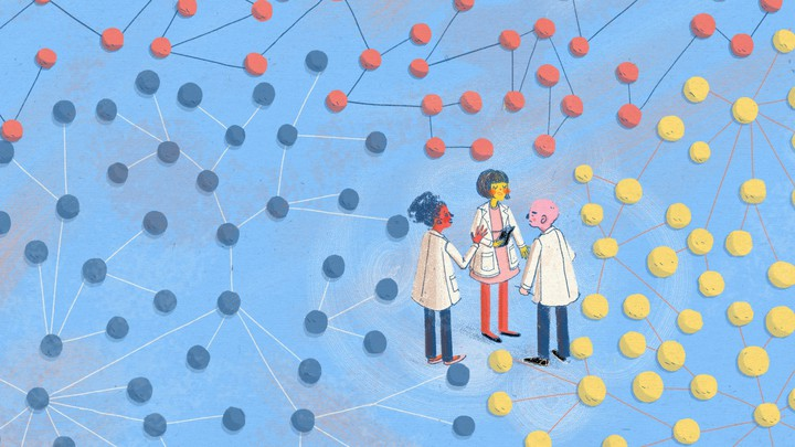 An illustration of three researchers in lab coats standing and talking, surrounded by red, blue, and yellow networks of dots