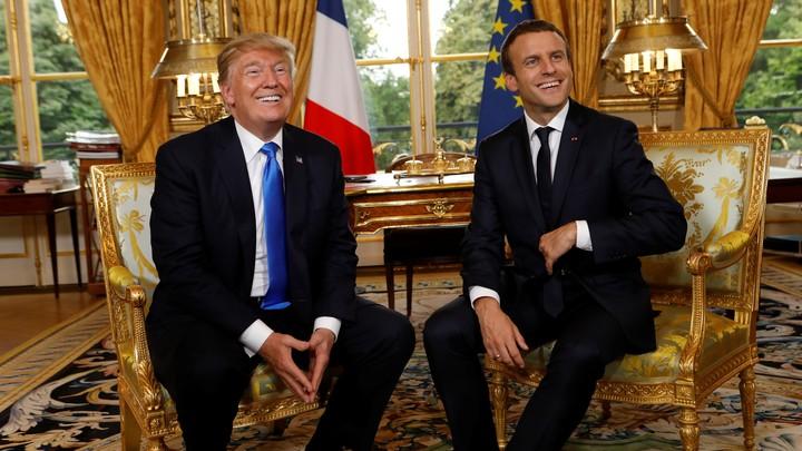 French President Emmanuel Macron andPresident Trumpmeet at the Élysée Palace in Paris onJuly 13, 2017.