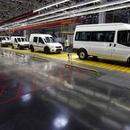 A fleet of Ford vans in a factory in Turkey.