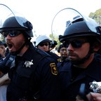 Berkeley Police among counter-protesters at a cancelled 'No Marxism in America' event in Berkeley, California, August 28.