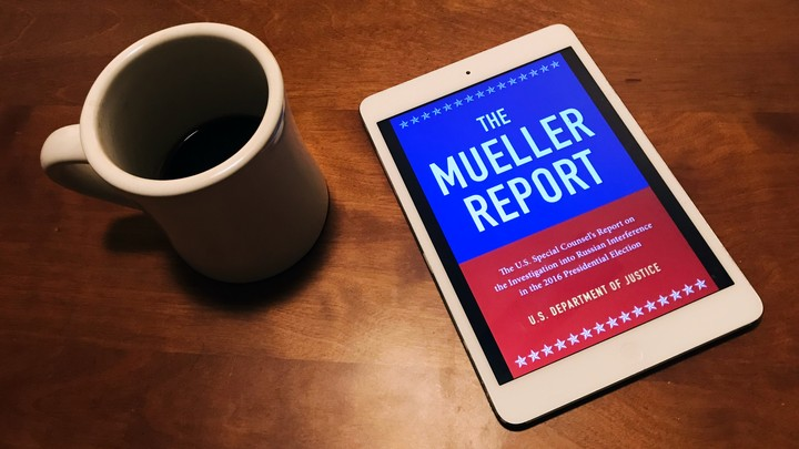 The Mueller-report ebook on a tablet screen