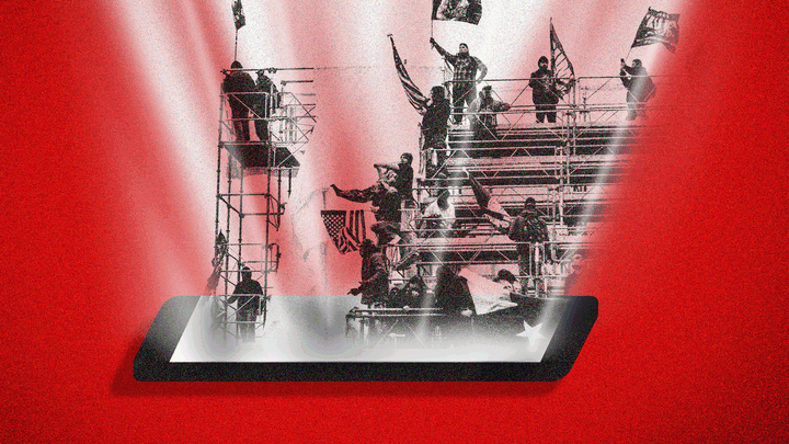 An image of protesters on scaffolding emerging from a smartphone