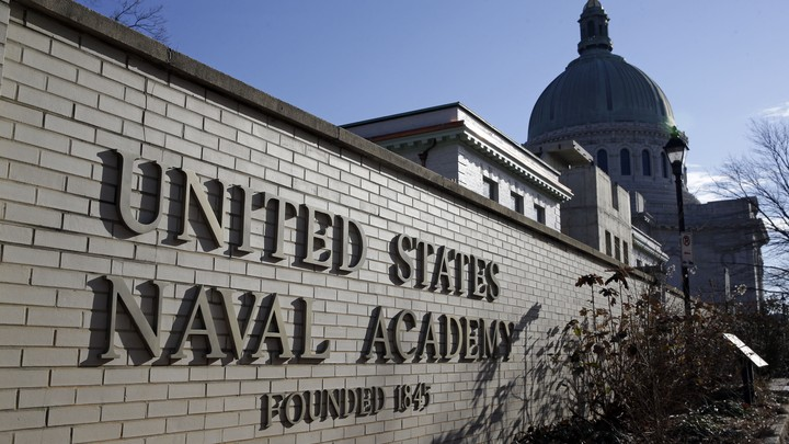 A sign reads United States Naval Academy