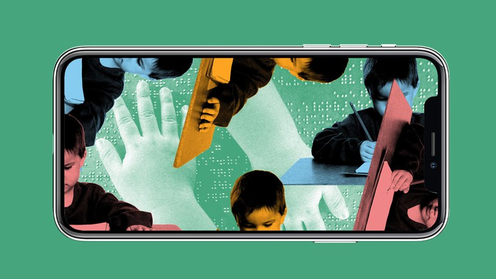 A collage illustration of children working at desks, with images of braille behind them, in the screen of an iPhone