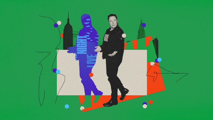 Elon Musk set against a background of New York City skyscrapers