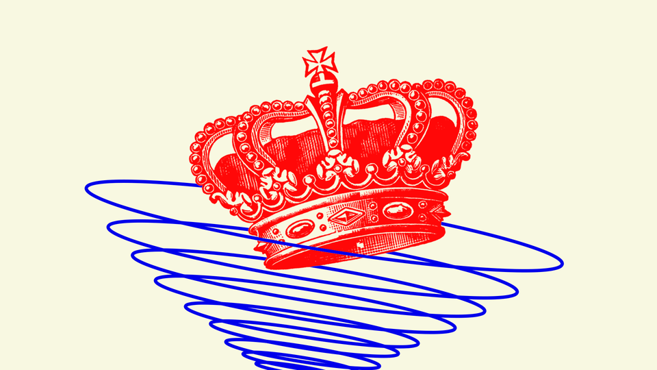 An illustration of a crown entering a spiral.