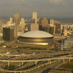 Aerial video of the Superdome in New Orleans