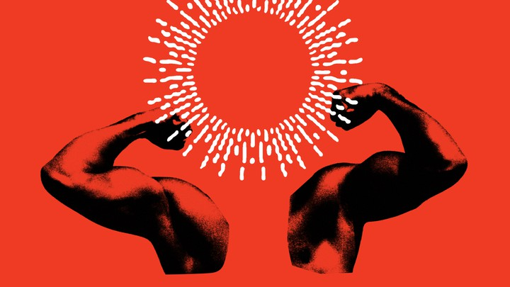 Illustration: muscular arms flexing with a round halo shaped like the sun's corona in place of a head
