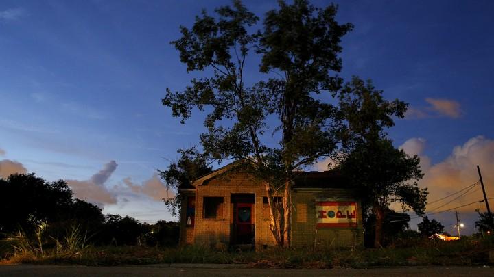An abandoned house after Hurricane Katrina