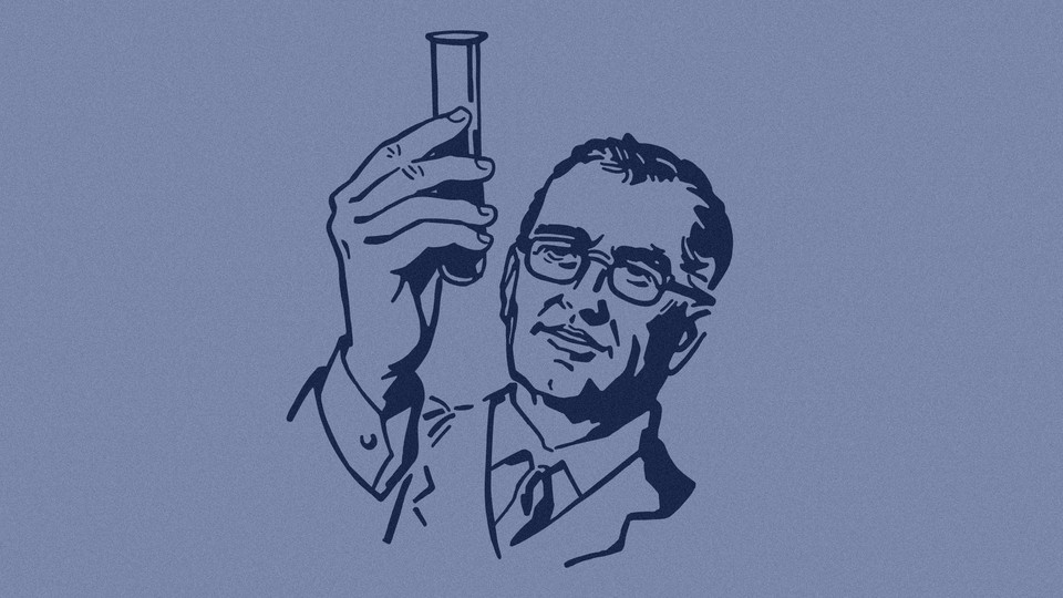 An illustration of a male scientist