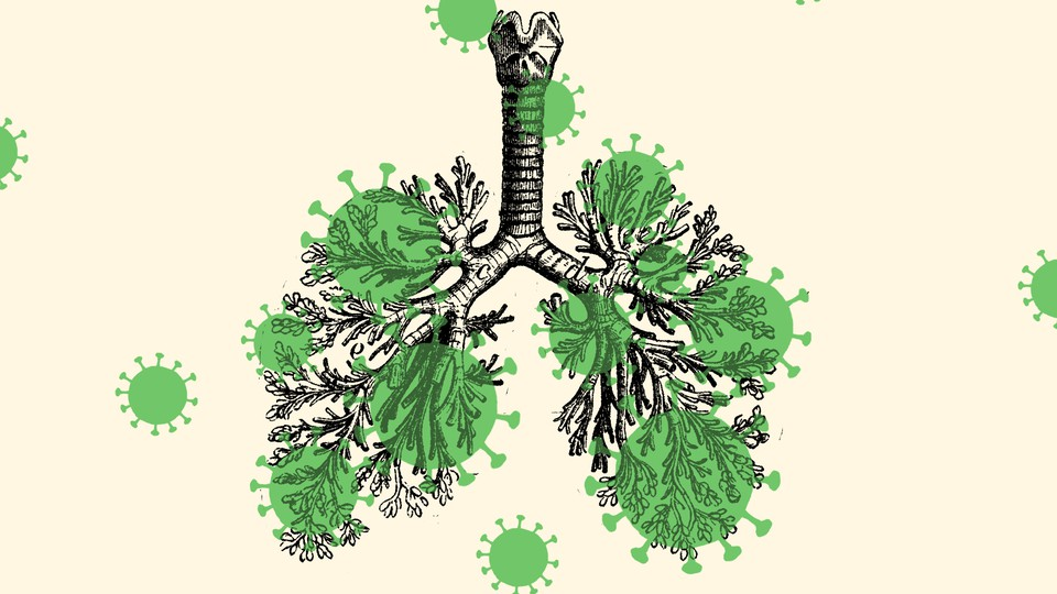 a lung overlaid with silhouettes of the coronavirus