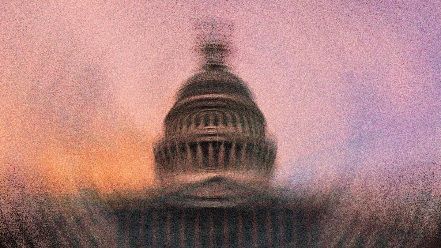 A blurred image of the U.S. Capitol