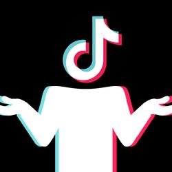 A figure with a TikTok logo for a head, shrugging
