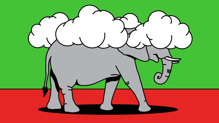 An illustration of an elephant walking around with clouds covering its head.