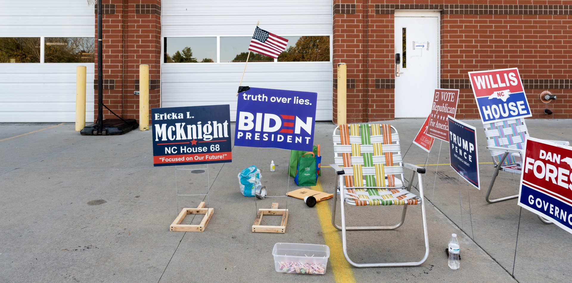 Photo of democratic poll worker's station at one of Union County's early voting sites in Mineral Springs