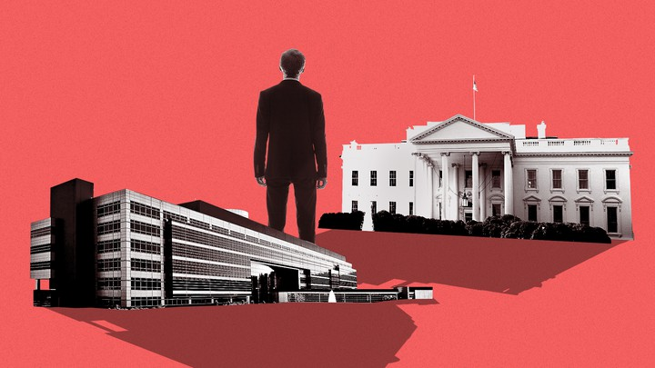 A man standing between the Defense Intelligence Agency headquarters and the White House