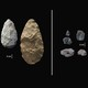 Acheulean tools on the left, Middle Stone Age tools on the right
