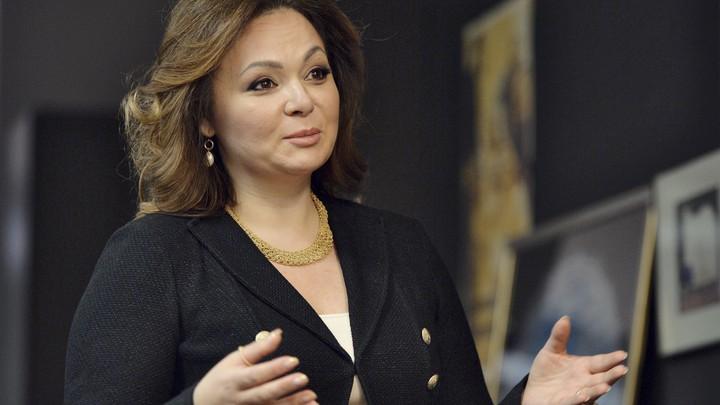 Russian lawyer Natalia Veselnitskaya speaks and gestures towards the camera.