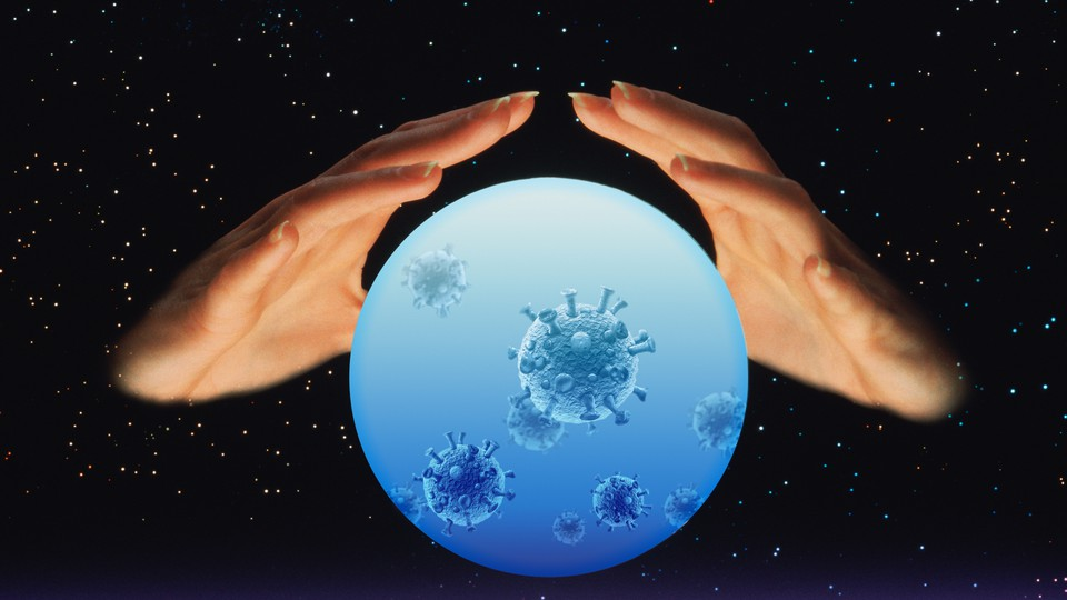 Two hands around a crystal ball with viruses inside it