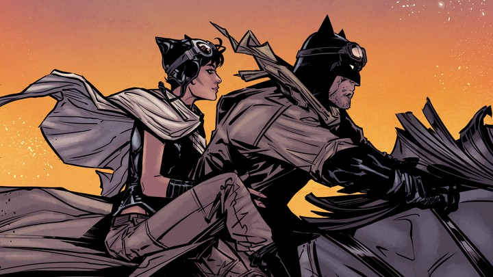 Catwoman and Batman riding on a horse