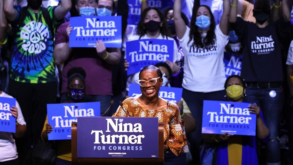 Nina Turner speaks at a campaign event