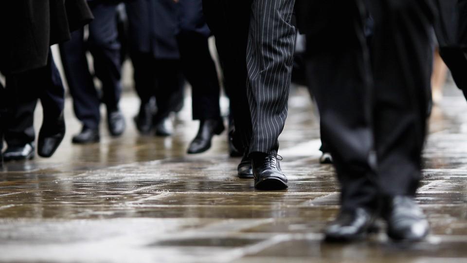 Commuters walking to work.