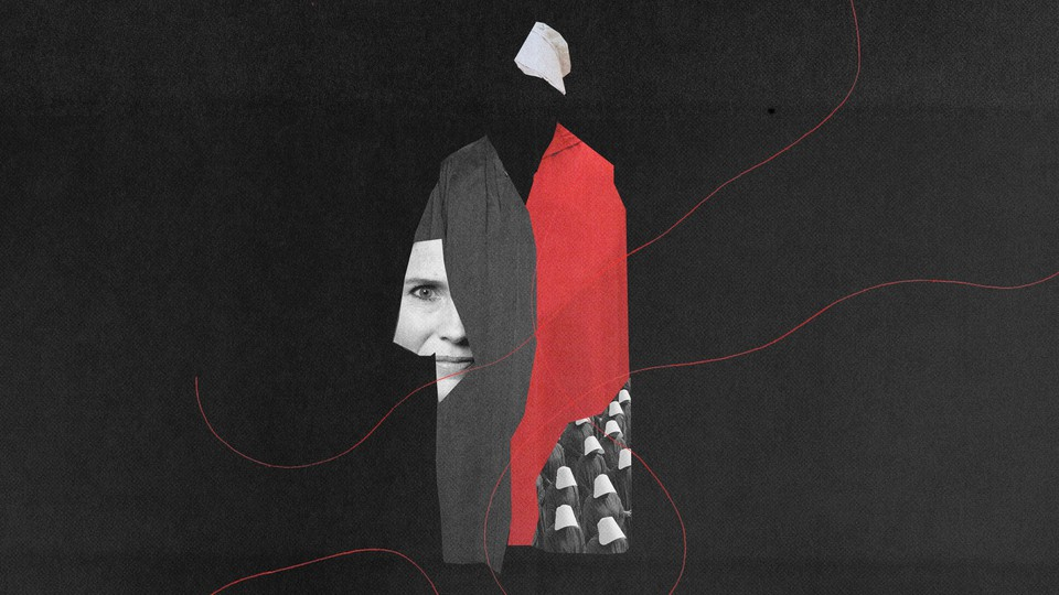 """An illustration of Amy Coney Barrett, judicial robes, and a dress from """"The Handmaid's Tale"""""""