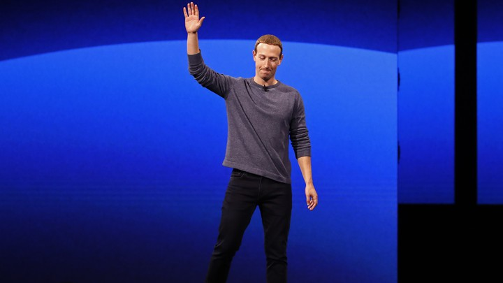 Mark Zuckerberg stands on stage at F8 2019.
