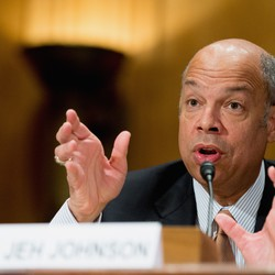 Homeland Security Secretary Jeh Johnson testifies on Capitol Hill in Washington.