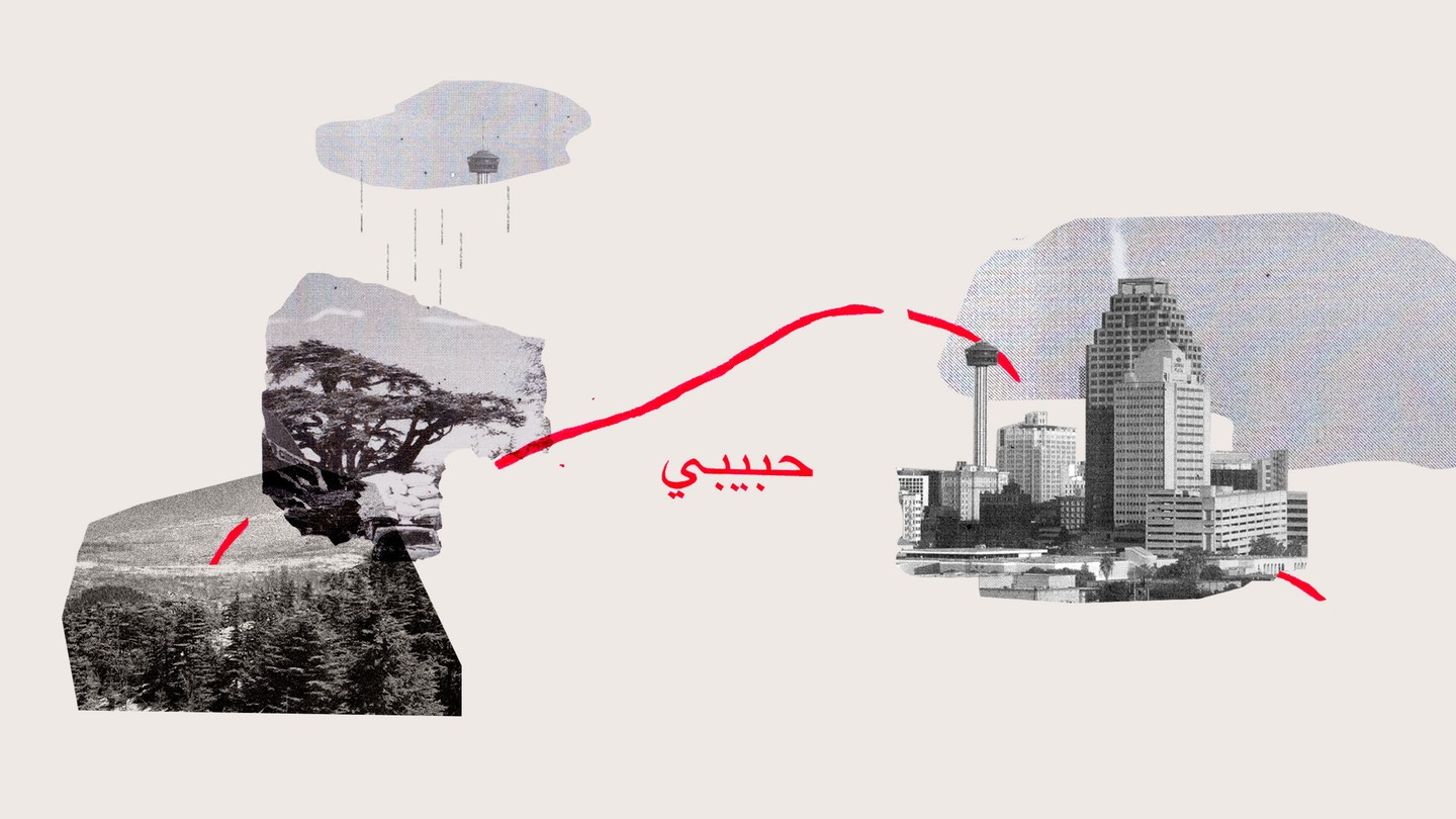 A red line goes between collage images of Lebanon and Texas
