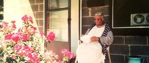 Mattie Freeland on her porch.