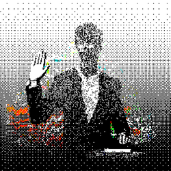 illustration of pixellated person taking oath with one hand raised