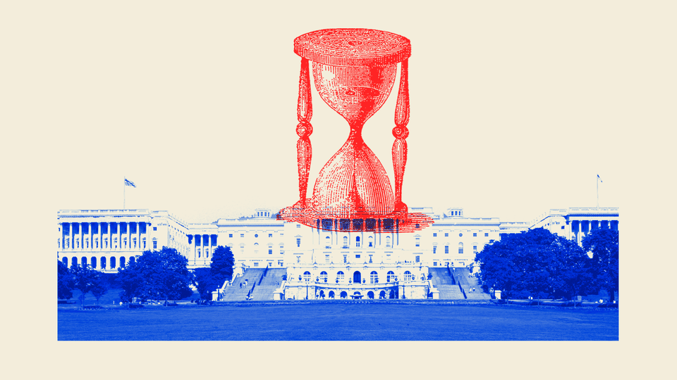 An illustration of the U.S. Capitol and an hourglass.