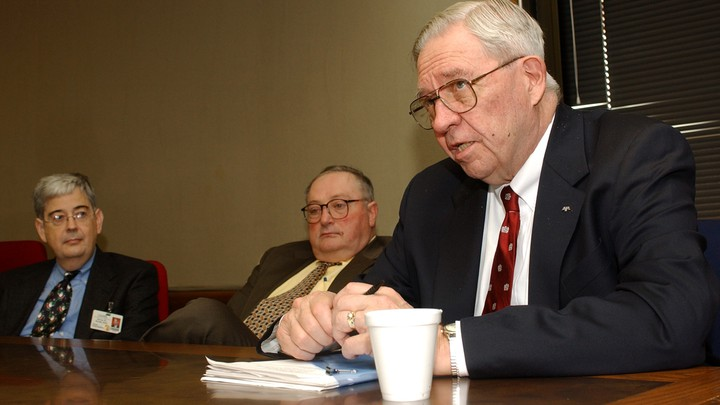 D.A. Henderson, right, speaks at the University of Arkansas for Medical Sciences about the risks of bioterrorism.