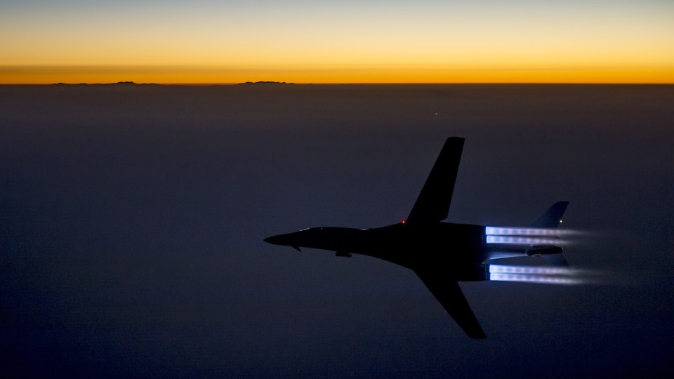 A U.S. Air Force B-1B Lancer supersonic bomber flies over northern Iraq after conducting air strikes in Syria against ISIS targets on September 27, 2014.