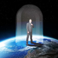 An illustration depicting Elon Musk standing on top of the Earth