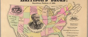 A map characterizing the Republican trade policy platform in the 1888 election.