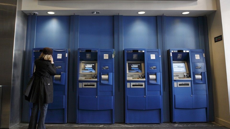 A bank of ATMs